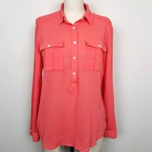 Madewell 100% Cotton Button-Up Crinkle Shirt